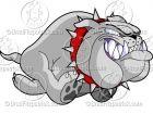 Cartoon Running Bulldog Logo Clipart