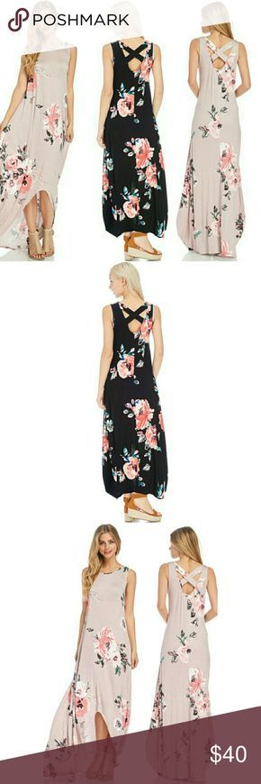 NWOT Floral Print Hi Low Maxi Dress Colors are Black and Blush. Floral print hi low maxi dress with cross back detail. Fabric: 95% Rayon, 5% Spandex Length: 57 inches. Available in Black and Blush Reb & J Dresses Maxi