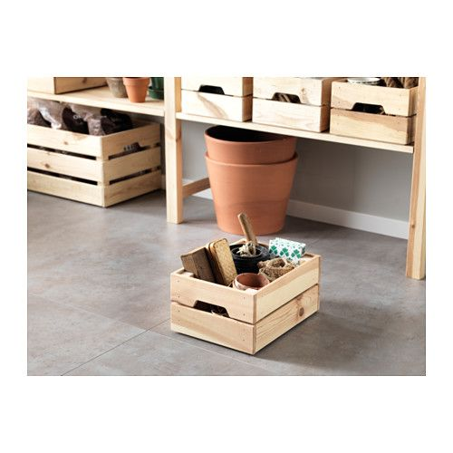 KNAGGLIG Box IKEA Perfect for storing cans and bottles as the box is sturdy. You can save space by stacking two boxes on top of one another.