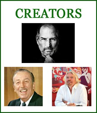There are only 8 types of Entrepreneurs according to the Wealth Dynamics Profile types. Here is the first type: The Creator. Creators are great at starting things and terrible at finishing anything. Their head is often in the clouds and this is where they create the most value. Examples being Steve Jobs, Walt Disney and Richard Branson. Read more - http://bit.ly/1IvWTXf