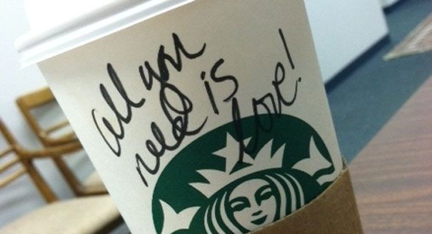 'All you need is love' is written on a Starbucks cup. Starbucks gay marriage equality day gets celebrity support Read more: www.politico.com/...