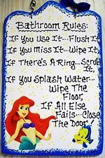 7x11 THE LITTLE MERMAID ARIEL Bathroom Rules SIGN Disney Bath Plaque Handcrafted