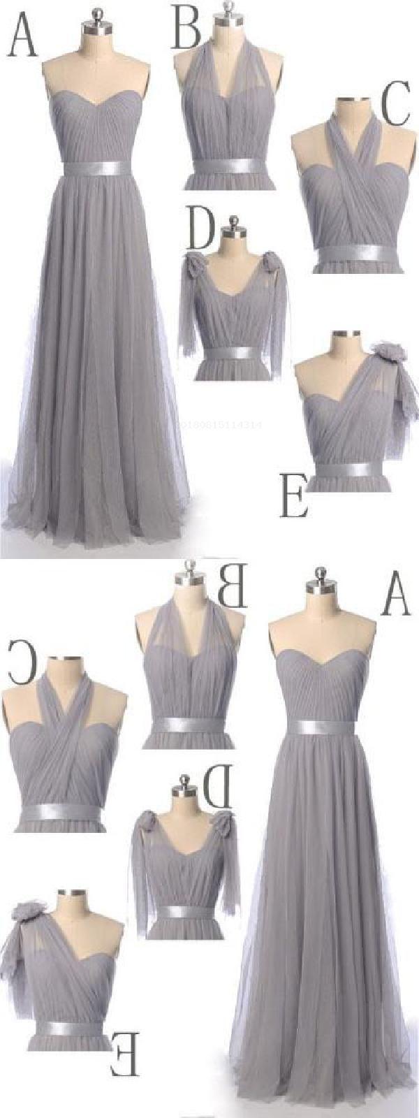 Discount Comfortable Grey Bridesmaid Dresses Grey Convertible Grey Long Bridesmaid Dress