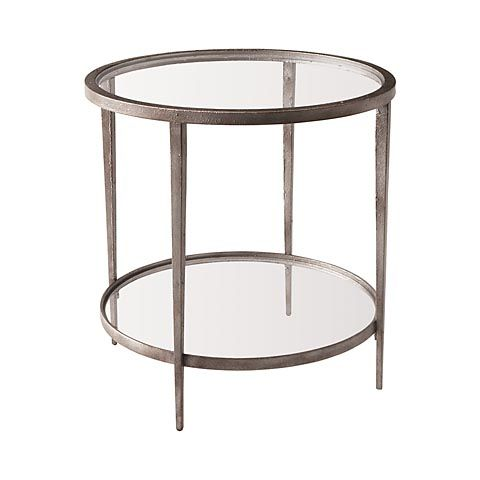 Bassett Auburn 6390 K641 Round End Table Silver With Hint Of Sun Rust. 25