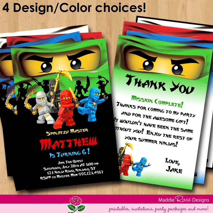 Ninjago Invitation & Thank You Note Card