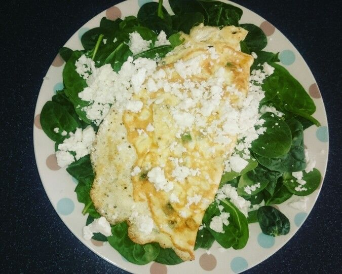 Lunch day 1 - 3egg feta and spinach omelette  100g spinach   3 eggs 51g feta 40g spring onion chopped