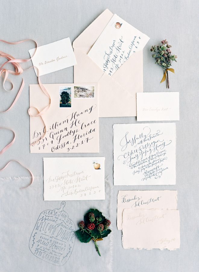 Blush calligraphy invitation suite: http://www.stylemepretty.com/2016/01/27/al-fresco-garden-wedding-in-montecito/ | Photography: Jose Villa - http://josevilla.com/