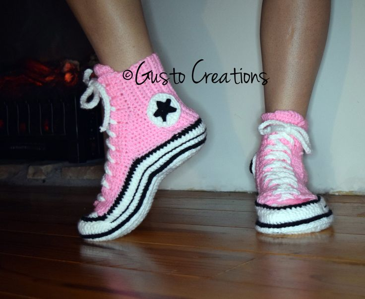 Free Crochet Pattern Converse Shoes : Adult Converse Slippers Crochet PDF pattern, High Top ...