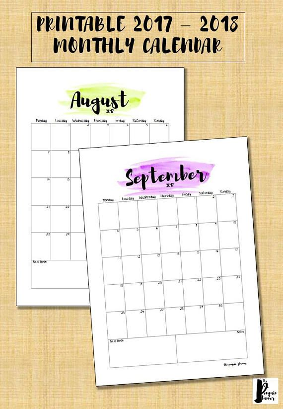 Monthly Calendar 2017 / 2018 Printable - Planner insert - Watercolour - Instant digital download
