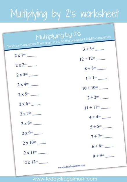 FREE Printable Multiplication Worksheet (multiplying by 2's) :: Download this FREE printable multiplication worksheet! Perfect for supplement to your child's education and for homeschooling families. :: Today's Frugal Mom