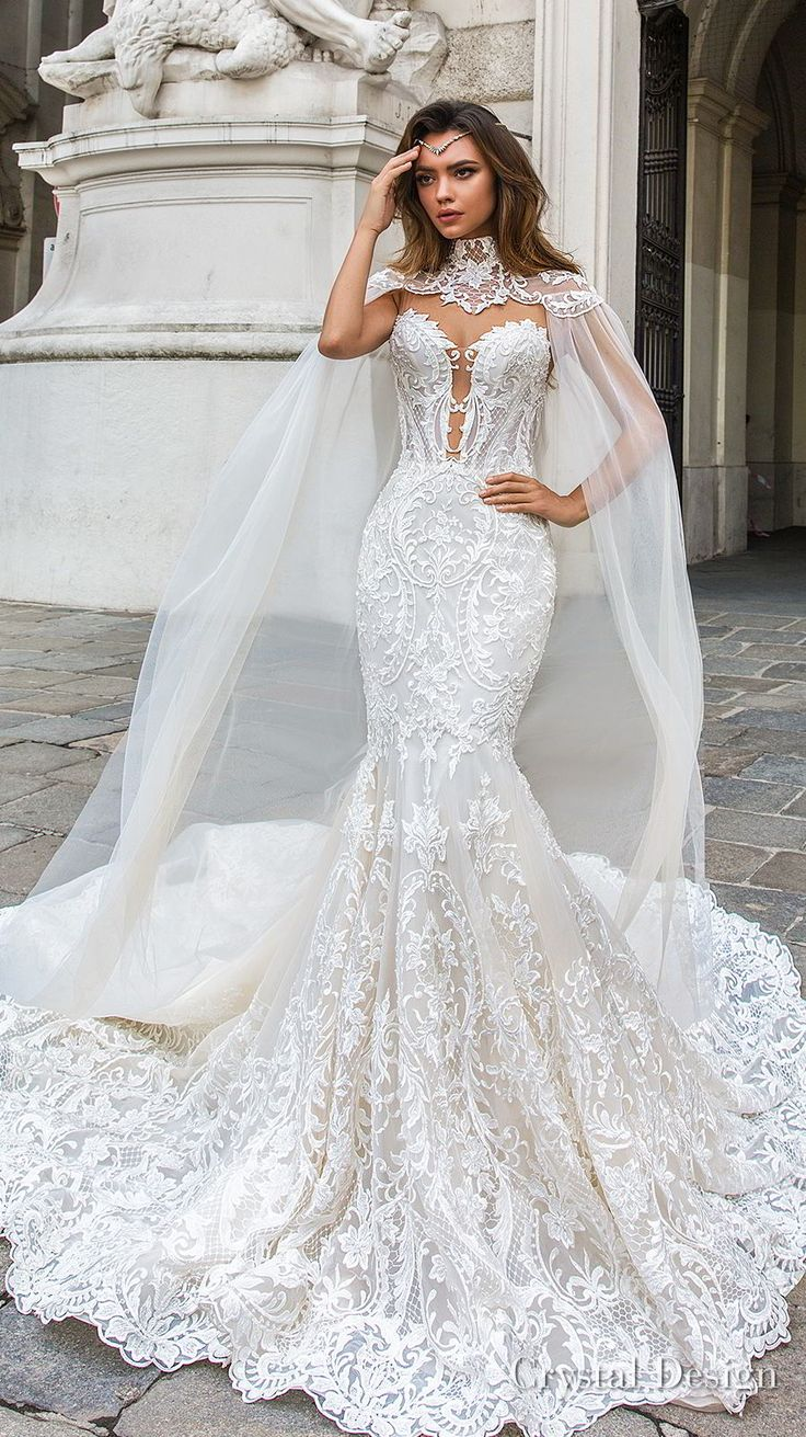 crystal design 2018 sleeveless strapless deep plunging sweetheart neckline full embellishment elegant mermaid wedding dress sheer button back chapel train (gia) mv -- Crystal Design 2018 Wedding Dresses