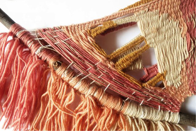 Weave swatches and neckpiece inspired by formative years living in the Philippines. Claire Norris, RMIT University Textile Design student.