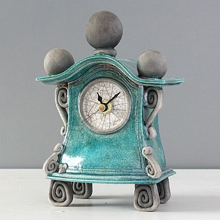 quirky ceramic mantel clock - small - turquoise by ian roberts