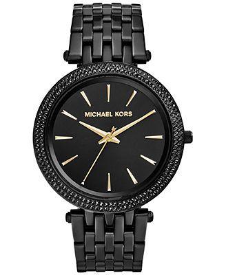 Michael Kors Women's Darci Black Ion-Plated Stainless Steel Bracelet Watch. In LOVE!!