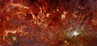 This sweeping panorama is the sharpest infrared picture ever made of the Milky Way's galactic core, where stars are forming!!! From the Hubblesite
