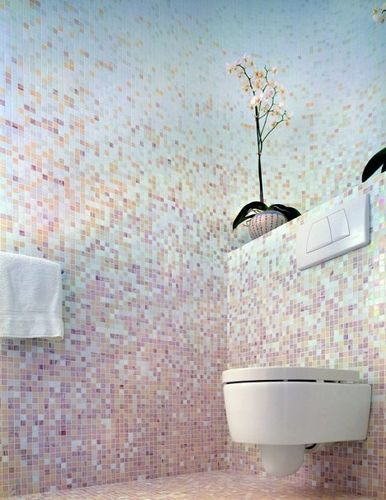 pink and blue mosaic tile bathroom; these are exactly the colors I want