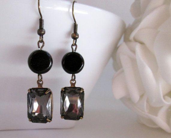 Grey Black Rhinestone Dangle Earring Bridal, Rhinestone and Spiritual Jewelry #etsy #bridalearrings