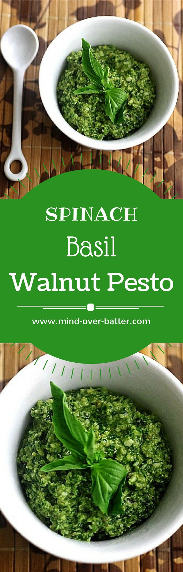 Spinach Basil Walnut Pesto -- www.mind-over-batter…