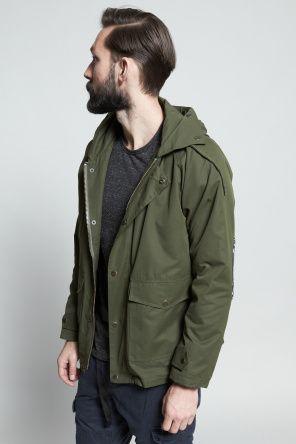 Shop for Vanishing Elephant Outerwear for Men | Pocket Utility Parka in Olive | Incu