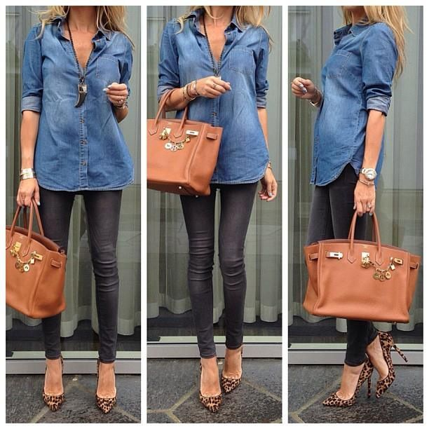 Denim top with faux leather leggings + leopard heels. Yes!