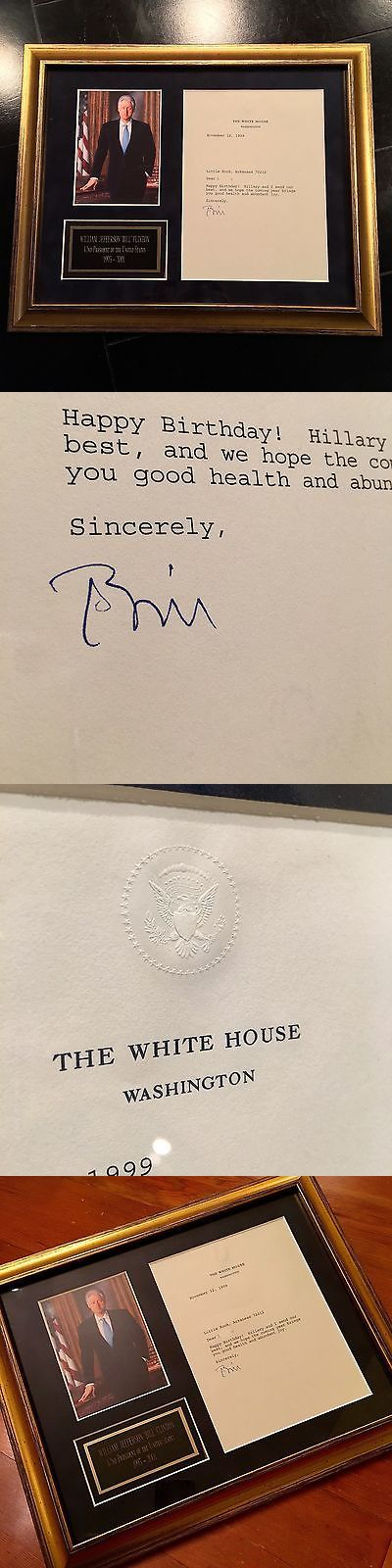 Bill Clinton: Bill Clinton * As President * Authentic White House Autograph Letter Signed BUY IT NOW ONLY: $450.0