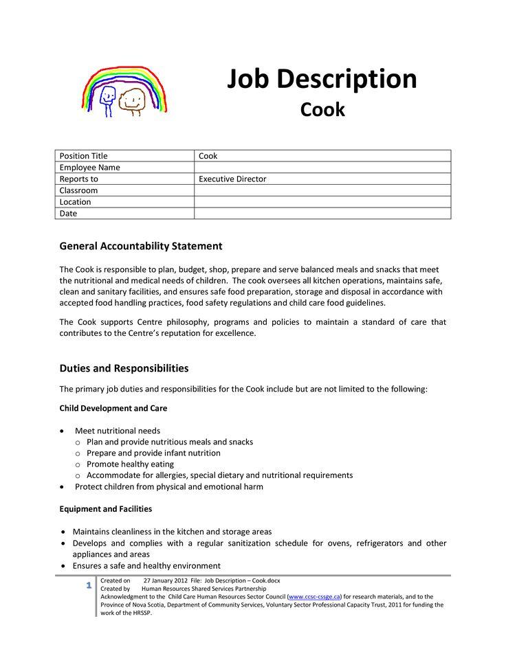 Cook Job Description For Child Care Center How to create