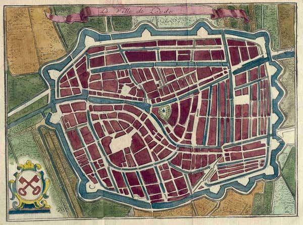 Ville de Leyde, een antieke plattegrond van Leiden in Zuid-Holland door Harrewijn uit 1690ca