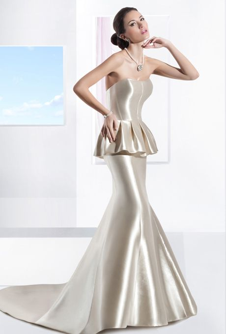 Demetrios - Illusions. Mikado satin, strapless, fit and flare gown featuring a corset bodice with pleated peplum and chapel train. Jeweled belt style BL42 sold separately. Available in white, ivory, and gold.