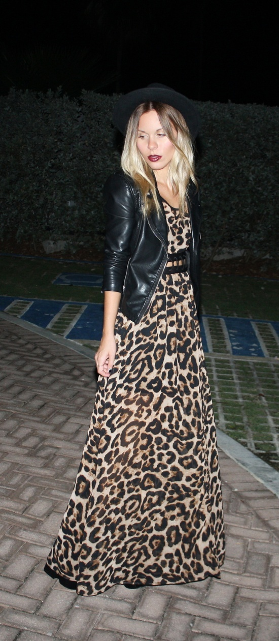 Leopard maxi dress / leather jacket / fedora hat                                                                                                                                                                                 More