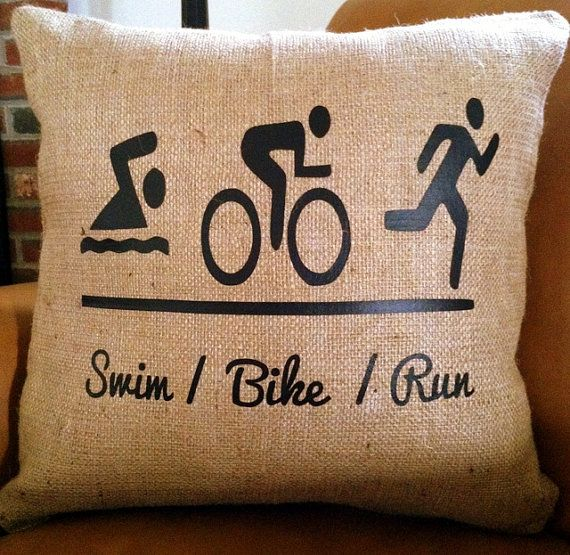 Triathlon Swim Bike Run Burlap 18x18 Decorative by StacieAnn, $28.00  For all of my athletic friends.