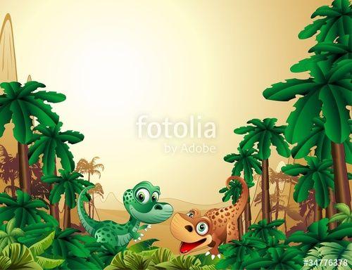 """Scarica il vettoriale Royalty Free """"Dinosauri Cuccioli Sfondo-Baby Dinosaur Tropical Background"""" creato da BluedarkArt al miglior prezzo su Fotolia . Sfoglia la nostra banca di immagini online per trovare il vettoriale perfetto per i tuoi progetti di marketing a prezzi imbattibili!"""
