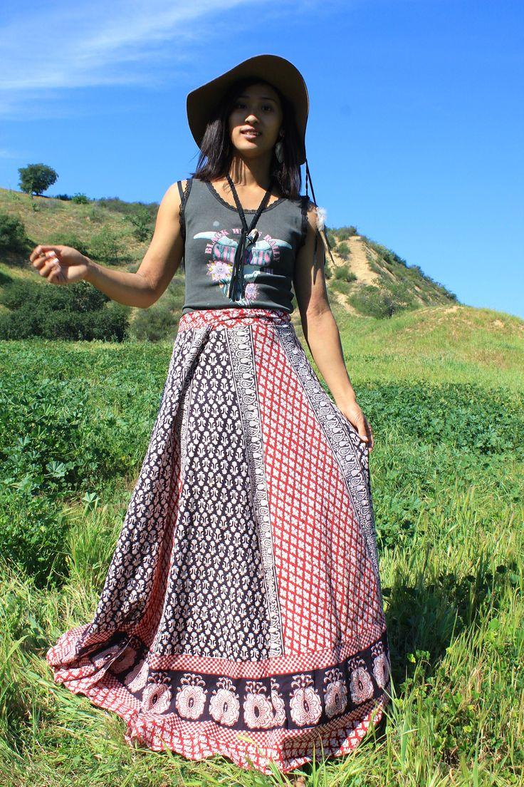 1970s Indian Maxi Block Print Wrap Skirt Print Wrap