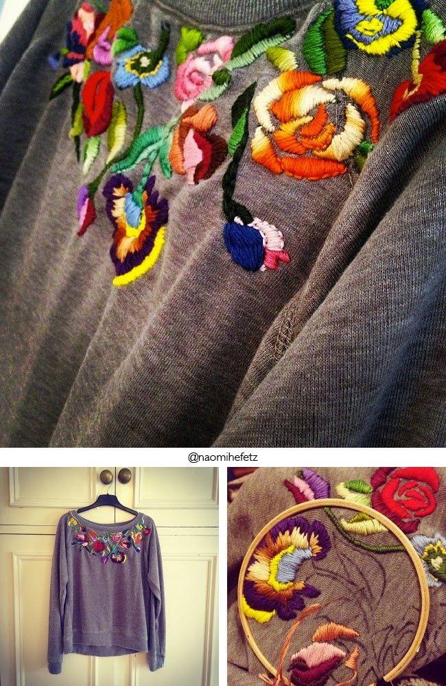 Вышитый гладью свитшот (или свитер?) +1
