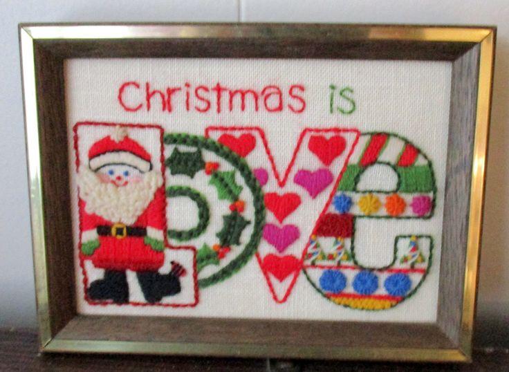 "Vintage MOD Crewel Embroidery ""Christmas is Love"" Santa Framed Sunset 1978 • $67.49 • PicClick"