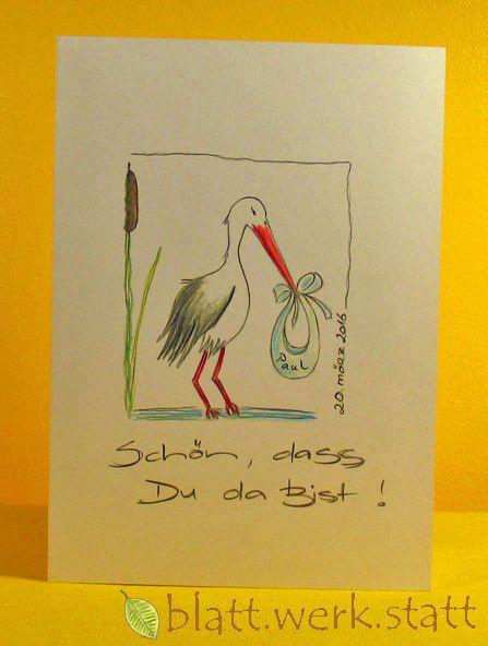 Baby & Geburt - Glückwunschkarte Geburt Taufe handgemalt individ.. - ein Designerstück von blattwerkstatt bei DaWanda