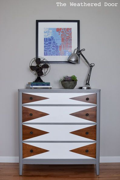 before after modern triangle dresser makeover, how to, painted furniture - possible idea for guest room furniture?