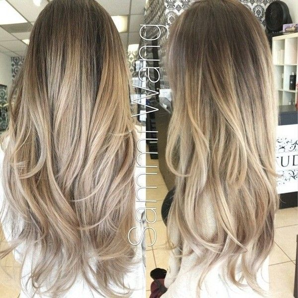 Ash Blonde and Gold Ombre Hair, Balayage Clip In Hair Extensions, Dark... ❤ liked on Polyvore featuring beauty products, haircare, hair styling tools, hair, hairstyles and cabelos