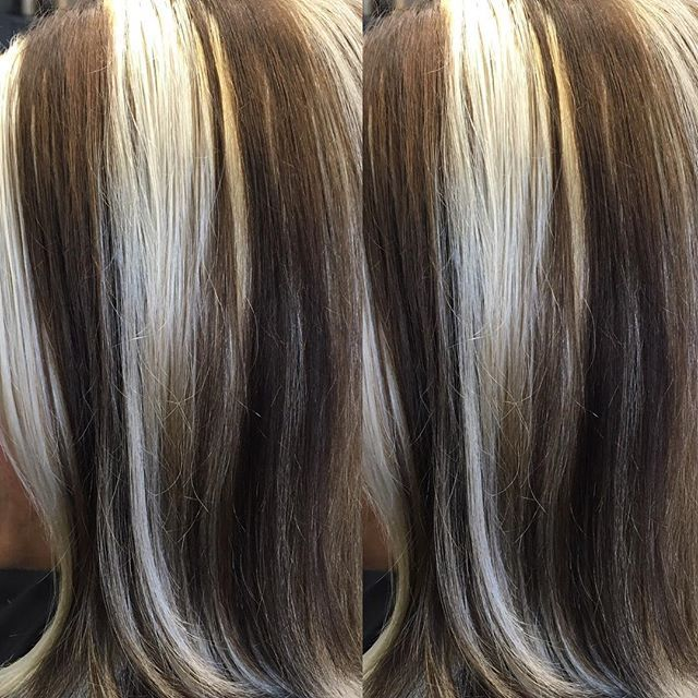 WEBSTA @ powderpuffxtreme - Here's Dana, very chunky high and low lights, I used flash lift with 30 volume and 7NN and 6NN cover fusion #redken5thave #redkenobsessed #beautybrands#bblook #chunkyhighlights