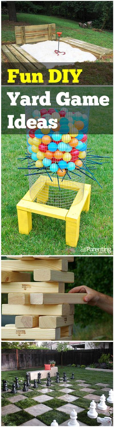 "DIY Backyard Games that are fun for families.  Life size Jenga, Backyard Chess and more ideas. [   ""DIY Backyard Games that are fun for families. Life size Jenga, Backyard Chess and more ideas."",   ""Fun DIY Yard Game Ideas I"