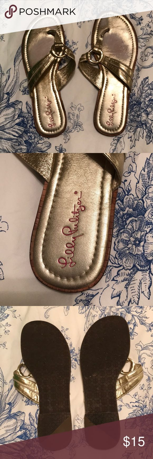 Lilly Pulitzer Gold Sandals Worn, super comfortable, go with everything Lilly Pulitzer Shoes Sandals
