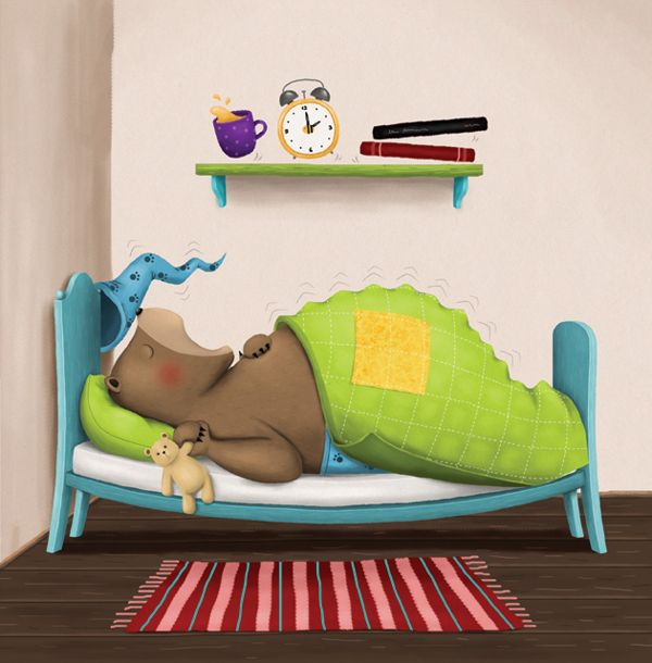 Hrkalo i Kamilica/Snorybear and Camomile, picture book by Jelena Brezovec, via Behance