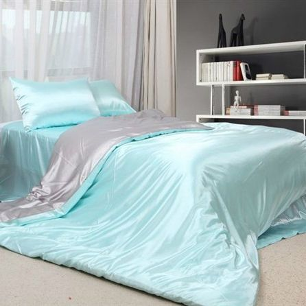 Blue Satin Sheets | Light Blue Satin Full Bedding [Satin Bedding 36]