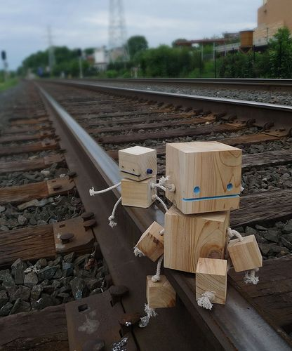 Cute little block and string robots.