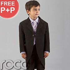 BOYS WEDDING PAGE BOY BLACK LILAC TAIL MORNING SUIT 0 MONTHS - 8YEARS