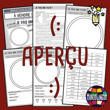 Printables to teach French/FFL/FSL: Créer une pizza/My own pizza