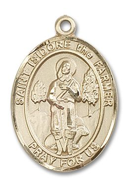 St. Isidore the Farmer Patron Saint Medal (14kt Yellow Gold) (Large)