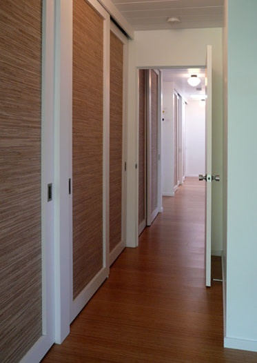 grasscloth on sliding closet doors @Lacey Kucheran - could we do this with  bamboo?