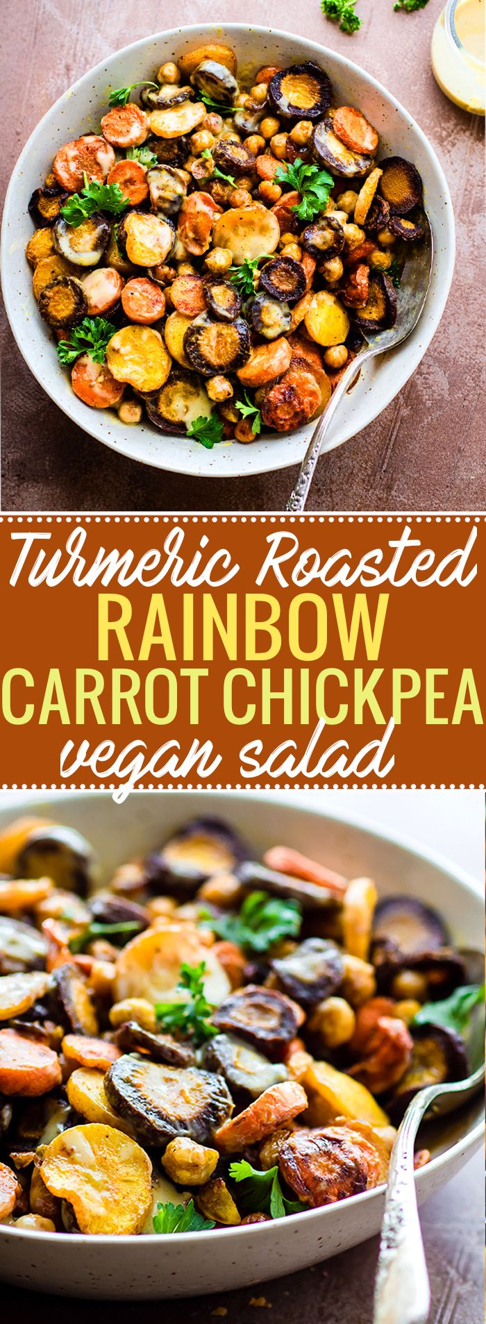 Turmeric Roasted Chickpea Carrot Salad with Apple Cider Tahini Dressing. A vegan salad with a golden glow! This Turmeric Roasted Chickpea Rainbow Carrot Salad is simple to make yet wholesome and nourishing. A plant based main meal or a healthy gluten free side dish to pass around the table.  @COTTERCRUNCH
