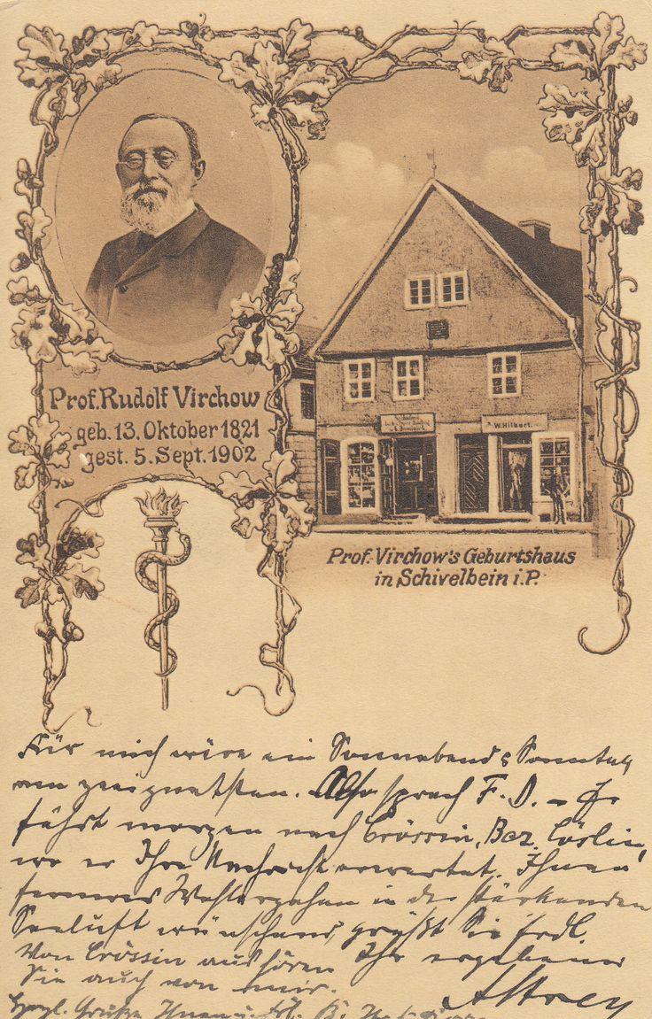 Prof. Rudolf Virchow Geburtshaus. Pocztówka upamiętniająca profesora Virchowa, mieszkańca przedwojennego Świdwina.