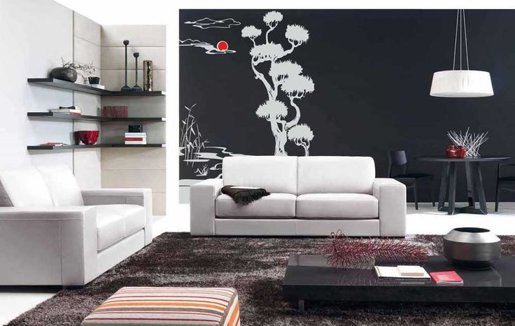house painting pattern for living room with white and black wall murals